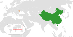 Map indicating locations of China and Moldova