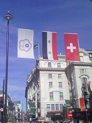 Concerns and controversies at the 2012 Summer Olympics - The Chinese Taipei Olympic flag suspended alongside the national flags of Syria and Switzerland in Piccadilly