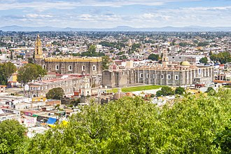 Cholula, Puebla - Overlooking the San Gabriel monastery and city from the Pyramid