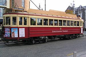 Christchurch tramway system - A Christchurch Tramway tram, Worcester Street (March 2005)