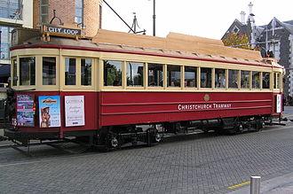 Trams in New Zealand - A Christchurch Tramway Tram, Worcester Street, 2005