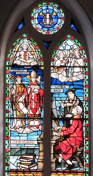 Church music - The Church Music stained glass window at St. Matthew's German Evangelical Lutheran Church in Charleston, South Carolina