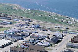 Churchill, Manitoba, aan de Hudsonbaai is de belangrijkste plaats in het dunbevolkte noorden van de provincie