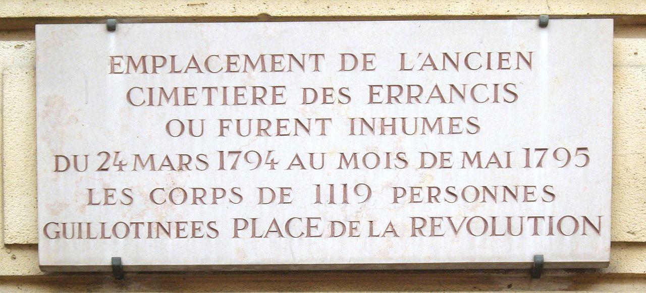 Placa que recuerda donde estaba situado el cementerio de Errancis y a las víctimas del Terror que fueron enterradas en él.