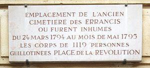 Errancis Cemetery - Commemorative plaque for the Errancis Cemetery