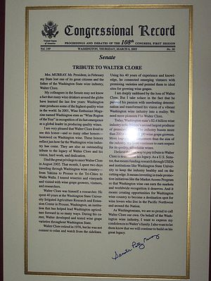 Walter Clore - Congressional record from March, 2003 paying tribute to Dr. Clore and signed by Sen. Patty Murray.