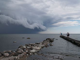 Storm - A shelf cloud, associated with a heavy or severe thunderstorm, over Swedish island of Öland in the Baltic Sea in July 2005.