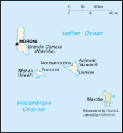 Map of the Comoros with Mayotte