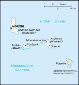 Mapa  União de Comores