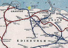 An excerpt from an old railway map of northern Edinburgh, showing the Trinity Chain Pier near the top. It is highlighted in yellow, with Newhaven and Leith on the right, and Granton on the left.