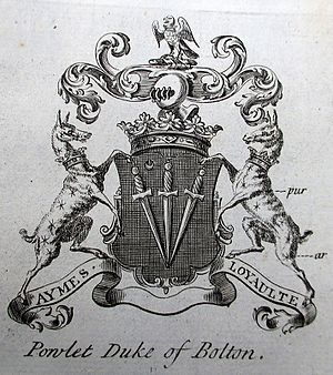 "Marquess of Winchester - Heraldic achievement of ""'Powlet Duke of Bolton"", from The Peerage of England by Arthur Collins, 1768"