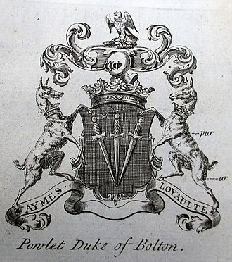 """Marquess of Winchester - Heraldic achievement of """"'Powlet Duke of Bolton"""", from The Peerage of England by Arthur Collins, 1768"""