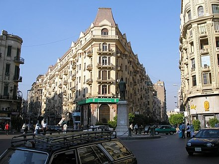 The statue of Talaat Pasha Harb in Downtown Cairo, the father of the modern Egyptian economy. ColArchCairo.jpg