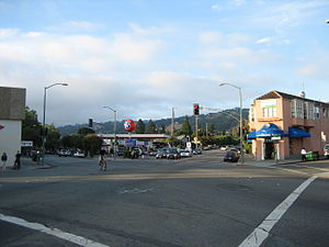 Rockridge, Oakland, California - The intersection of College Avenue and Claremont near the northern end of Rockridge.