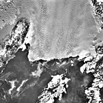 Columbia Glacier, Calving Terminus, Heather Island, Terentiev Lake, January 21, 1983 (GLACIERS 1454).jpg