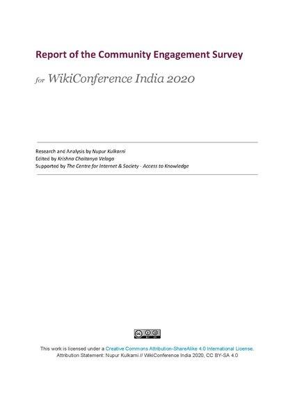 File:Community Engagement Survey report, WikiConference India 2020.pdf
