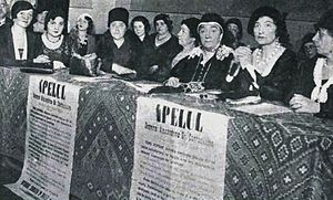 Alexandrina Cantacuzino - Cantacuzino (front row, third from right) and other SONFR delegates at a Bucharest rally for women's suffrage, March 1932