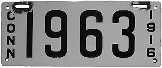 Vehicle registration plates of Connecticut - Image: Connecticut 1916 license plate