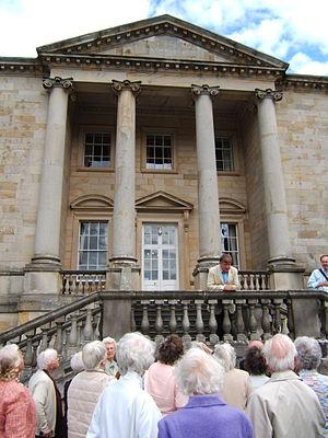 Constable Burton Hall - Marmaduke D'Arcy Wyvill on the steps of Constable Burton Hall