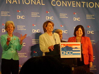 2008 Democratic National Convention - Permanent Chair Nancy Pelosi speaks during a press conference at the Colorado Convention Center the day before the start of the convention, flanked by the three co-chairs.
