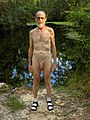 Cool Hiking In The Woods Naked Wearing Only White Ankle Socks And Sandals.jpg