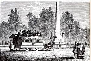1863 in Denmark - The first tram in Copenhagen passing the Liberty Column