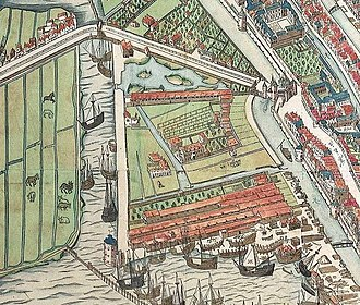 Montelbaanstoren - Image: Cornelis anthonisz vogelvluchtkaart amsterdam detail