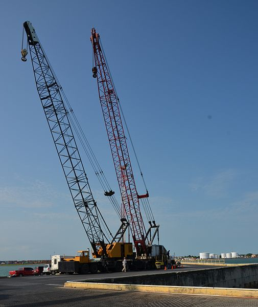 File:Cranes stand at the Port of Belize in Belize City, Belize, March 7, 2014, before the arrival of construction vehicles and shipping containers that will be unloaded for New Horizons 2014 140307-F-HI762-016.jpg