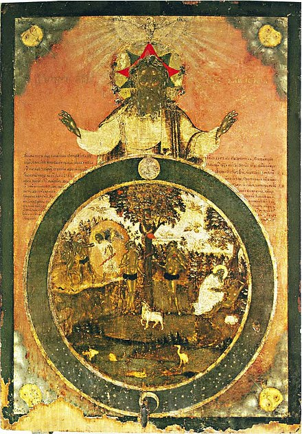 Creation of Adam and Eve. (Russian icon, 18th c.) Creation of world icon (Russia, 18 c.).jpeg