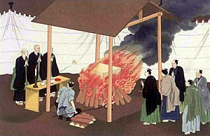 Japanese funeral - Cremation in Japan, illustration from 1867