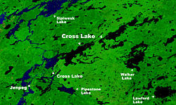 Location of Cross Lake on Cross Lake