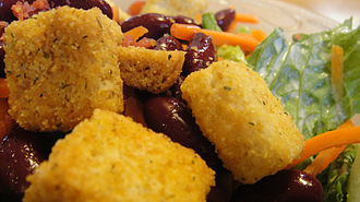 Crouton - Close-up of croutons on a salad.