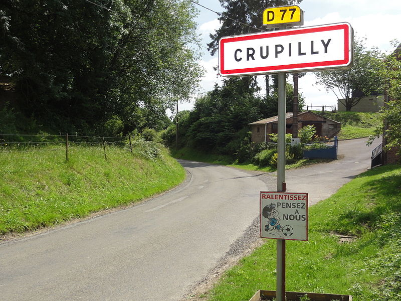 Crupilly (Aisne) city limit sign