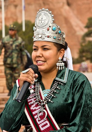 Miss Navajo - Former Miss Navajo Crystalyne Curley speaking to a crowd after her coronation in 2012.