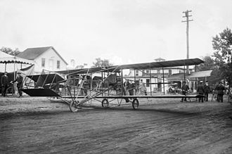 Curtiss Aeroplane and Motor Company - Curtiss-Herring flying machine photographed in Mineola, New York.