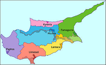 Map showing the districts of Cyprus