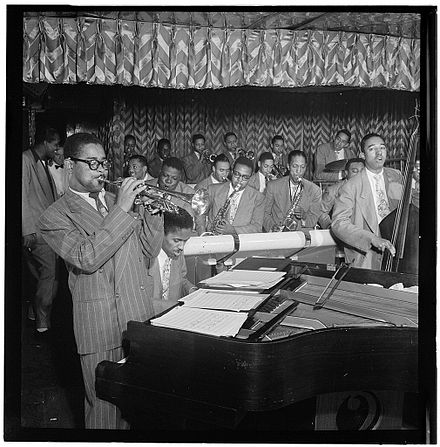 Gillespie with John Lewis, Cecil Payne, Miles Davis, and Ray Brown, between 1946 and 1948 D. Gillespie, J. Lewis, C. Payne, M. Davis, R. Brown.jpg