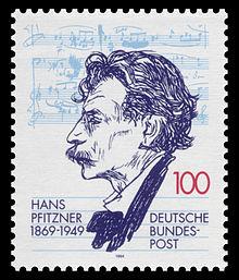 125. Geburtstag Hans Pfitzner: Deutsche Briefmarke von 1994 nach einer Porträtzeichnung von Emil Orlik (Quelle: Wikimedia)