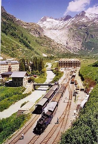 Furka Cogwheel Steam Railway - Gletsch railway station