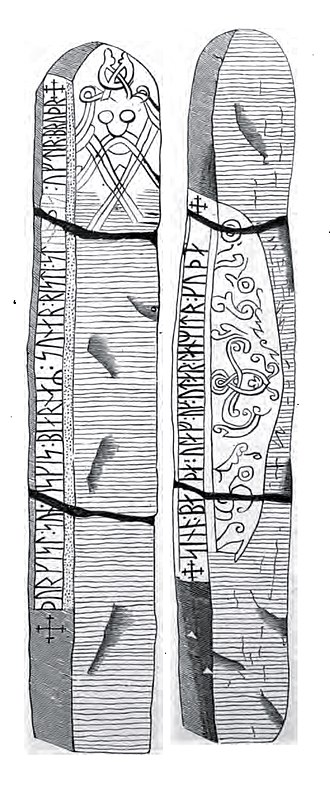 Lund 1 Runestone - Drawing of the runestone published in 1878.