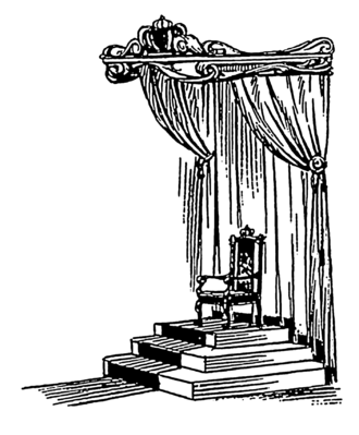 Throne - Drawing of a European-style throne under a baldachin, placed on a dais