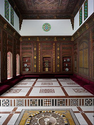 Qa'a (room) - The tazar (sitting platform) of the Damascus Room, a qa'a from a medieval house in Damascus. This qa'a, designed in ajami-style, is now kept in the Metropolitan Museum of Art, New York.