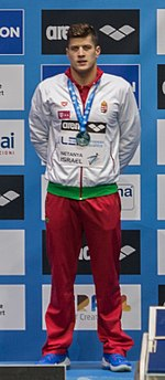 Gyurta wearing the silver medal he won at the 200m breaststroke, 2015 European Short Course Swimming Championships, Netanya