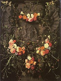Daniel Seghers - Flower garland with Saint Catherine - c. 1650.jpg