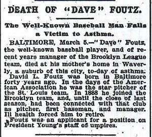 Dave Foutz - An obituary for Dave Foutz from The New York Times, March 7, 1897.