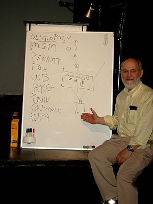David Bordwell - Bordwell lecturing on the economics of the film industry; his whiteboard diagram shows the oligopoly that existed in the US film industry during the Golden Age of Hollywood.