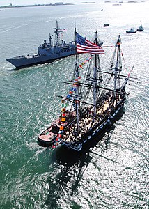 Defense.gov News Photo 110603-N-SH953-655 - The USS Constitution greets the guided-missile frigate USS Carr FFG 52 in Boston Harbor during an underway Battle of Midway commemoration on June.jpg