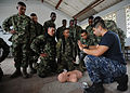 Defense.gov News Photo 110606-N-NY820-074 - U.S. Navy Petty Officer 2nd Class Antonio Carranza a hospital corpsman conducts CPR training with Colombian naval infantrymen during a Continuing.jpg