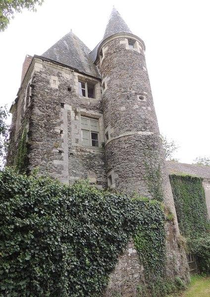 Château de Mantelon, chateau médiéval: Donjon rectangulaire à gauche flanqué d'une haute tourelle ronde avec les murs envahis de lierre en bas, et avec des fenêtres à meneaux et de petite taille