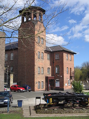 Derby Silk Mill - The museum entrance and tower from Cathedral Green